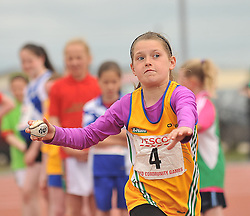 Zoe Forde from Ballinrobe taking part in girls Under 12 ball throw at the Mayo Commmunity Games finals.<br /> Pic Conor McKeown