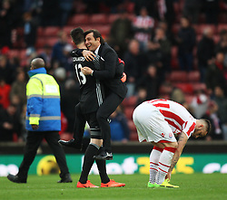 Chelsea manager Antonio Conte celebrates at the final whistle - Mandatory by-line: Jack Phillips/JMP - 18/03/2017 - FOOTBALL - Bet365 Stadium - Stoke-on-Trent, England - Stoke City v Chelsea - Premier League
