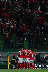 February 3, 2019 - Lisbon, Portugal - Benfica's Portuguese midfielder Pizzi celebrates with teammates after scoring during the Portuguese League football match Sporting CP vs SL Benfica at Alvalade stadium in Lisbon, Portugal on February 3, 2019. (Credit Image: © Pedro Fiuza/NurPhoto via ZUMA Press)