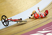 Women Omnium, crash Hanna Tserah (Belarus) during the Track Cycling European Championships Glasgow 2018, at Sir Chris Hoy Velodrome, in Glasgow, Great Britain, Day 5, on August 6, 2018 - Photo luca Bettini / BettiniPhoto / ProSportsImages / DPPI<br /> - Restriction / Netherlands out, Belgium out, Spain out, Italy out -