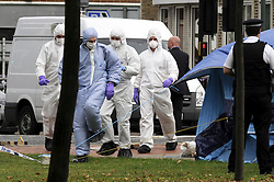 © Licensed to London News Pictures. 10/10/2011. London, UK. Police and forensics at the scene of a stabbing in Bexleyheath, South London today (10/10/2011)  in which a woman was killed and another woman was injured. Photo credit : Grant Falvey/LNP
