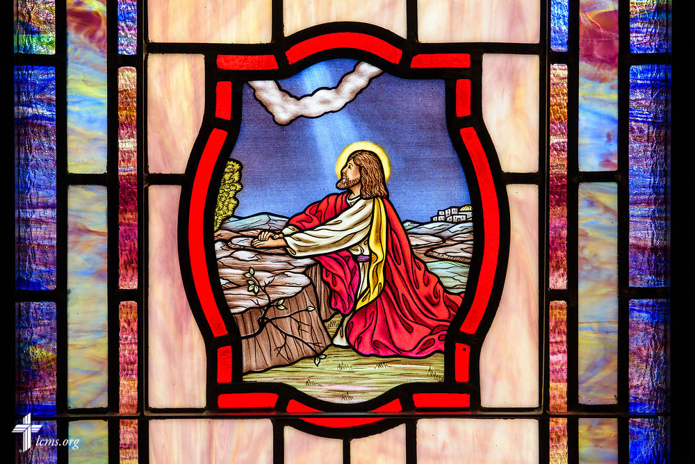 Stained glass depicting Jesus Christ praying in Gethsemane (Luke 22:42) at St. John's Lutheran Church, Conover, N.C, on Friday, April 21, 2017. LCMS Communications/Erik M. Lunsford