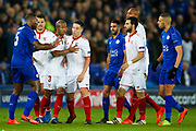 Sevilla midfielder, on loan from Manchester City,  Samir Nasri (10) has to be restrained after he is sent off and receives a red card  during the Champions League round of 16, game 2 match between Leicester City and Sevilla at the King Power Stadium, Leicester, England on 14 March 2017. Photo by Simon Davies.