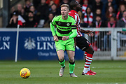 Forest Green Rovers Nathan McGinley(19) during the EFL Sky Bet League 2 match between Lincoln City and Forest Green Rovers at Sincil Bank, Lincoln, United Kingdom on 3 November 2018.