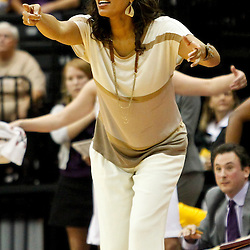November 16, 2011; Baton Rouge, LA; LSU Tigers head coach Nikki Caldwell signal from the bench during the second half of a game against the Georgetown Hoyas at the Pete Maravich Assembly Center. LSU defeated Georgetown 51-40. Mandatory Credit: Derick E. Hingle-US PRESSWIRE