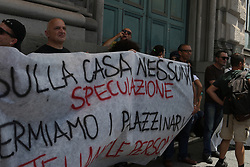 June 15, 2018 - Naples, Campania, Italy - A group of citizens gathered under the court of the TAR of Campania to protest on the assignment of housing for public housing. (Credit Image: © Fabio Sasso/Pacific Press via ZUMA Wire)