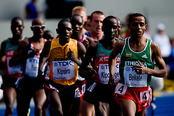 Moses Kipsiro of Uganda, Eliud Kipchoge of Kenya, Winner Kenenisa Bekele of Ethiopia compete in the men's 5000m Final during the day nine of the 12th IAAF World Athletics Championships at the Olympic Stadium on August 23, 2009 in Berlin, Germany. (Photo by Vid Ponikvar / Sportida)