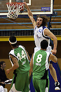Casey Frank dunks during the NBL basketball match between the Youthtown Auckland Stars and the Manawatu Jets at the ASB Stadium, Auckland, New Zealand on Thursday 5 April 2007. Photo: Hannah Johnston/PHOTOSPORT<br /> <br /> <br /> <br /> 050407