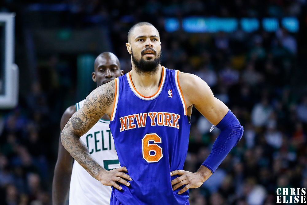 24 January 2013: New York Knicks center Tyson Chandler (6) rests during the New York Knicks 89-86 victory over the  at the TD Garden, Boston, Massachusetts, USA.
