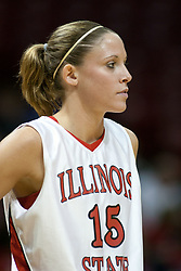 13 November 2005: Redbird Megan McCracken.  With a final score was 93-58, the Illinois State University Redbirds overcome the Bearcats of Northwest Missouri State in an exhibition match up Sunday afternoon at Redbird Arena in Normal Illinois.  The final score was 93-58.