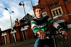 UK ENGLAND LONDON 15FEB07 - Fulham FC footballer Moritz Volz poses for photos with his folding bicycle outside the club's stadium in Stevenage Road, Fulham, West London.. . jre/Photo by Jiri Rezac. . © Jiri Rezac 2007. . Contact: +44 (0) 7050 110 417. Mobile:  +44 (0) 7801 337 683. Office:  +44 (0) 20 8968 9635. . Email:   jiri@jirirezac.com. Web:    www.jirirezac.com. . © All images Jiri Rezac 2007 - All rights reserved.