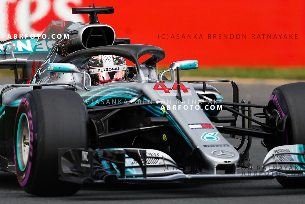 Mercedes driver Lewis Hamilton of Britain on Saturday during Qualifying for the 2018 Rolex Formula 1 Australian Grand Prix at Albert Park, Melbourne, Australia, March 24, 2018.  Asanka Brendon Ratnayake