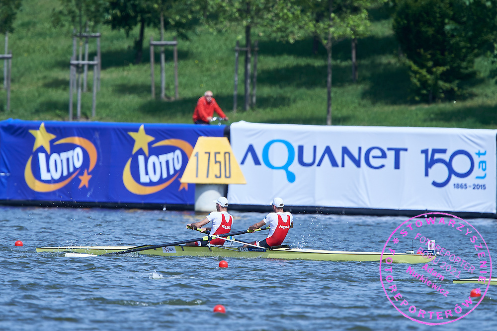 (bow) Patryk Pszczolkowski and (stroke) Bartosz Pszczolkowski both from Poland compete at Man&rsquo;s Pair (M2-) Final A during third day the 2015 European Rowing Championships on Malta Lake on May 31, 2015 in Poznan, Poland<br /> Poland, Poznan, May 31, 2015<br /> <br /> Picture also available in RAW (NEF) or TIFF format on special request.<br /> <br /> For editorial use only. Any commercial or promotional use requires permission.<br /> <br /> Mandatory credit:<br /> Photo by &copy; Adam Nurkiewicz / Mediasport