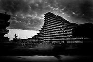 Napoli, Italia - 18 maggio 2010. Una veduta di una delle &quot;vele&quot; di Scampia a Secondigliano. Scampia &egrave; la piazza di spaccio di droga pi&ugrave; grande di Europa.<br /> Ph. Roberto Salomone Ag. Controluce<br /> ITALY - A view of the &quot;vele&quot;buildings of Scampia in Secondigliano on May 18, 2010. Scampia is the largest drug market in Europe.