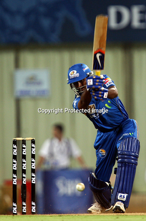 Mumbai Indians Batsman Ambati Rayudu Hit The Shot Against Deccan Chargers During The Deccan Chargers vs Mumbai Indians, 25th Twenty20 match Indian Premier League- 2009/10 season Played at Dr DY Patil Sports Academy, Mumbai 28 March 2010 - day/night (20-over match)