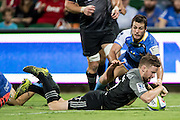 Mitchell Drummond of the BNZ Crusaders scores a try during the Canterbury Crusaders v the Western Force Super Rugby Match. Nib Stadium, Perth, Western Australia, 8th April 2016. Copyright Image: Daniel Carson / www.photosport.nz