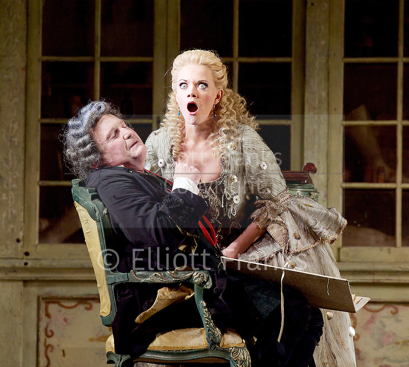 The Barber of Seville <br /> by Rossini <br /> English National Opera, London Coliseum, London, Great Britain <br /> Rehearsal <br /> 25th September 2015 <br /> <br /> <br /> Kathryn Rudge as Rosina <br /> <br /> Andrew Shore as Doctor Bartolo <br /> <br /> <br /> <br /> <br /> Photograph by Elliott Franks <br /> Image licensed to Elliott Franks Photography Services