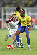 21 August 2008: Ester (BRA) (9) and Amy Rodriguez (USA) (8). The United States Women's National Team defeated Brazil's Women's National Team 1-0 after extra time at the Worker's Stadium in Beijing, China in the Gold Medal match in the Women's Olympic Football tournament.