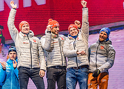 22.02.2020, Suedtirol Arena, Antholz, ITA, IBU Weltmeisterschaften Biathlon, Herren, 4 x 7,5 km Staffel, Siegerehrung, im Bild Bronzemedaillengewinner v.l. Benedikt Doll (GER), Arnd Peiffer (GER), Philipp Horn (GER), Erik Lesser (GER) // Bronze medalist f.l. Benedikt Doll Arnd Peiffer Philipp Horn and Erik Lesser of Germany during the winner ceremony for the men's 4 x 7,5 km Relay of IBU Biathlon World Championships 2020 at the Suedtirol Arena in Antholz, Italy on 2020/02/22. EXPA Pictures © 2020, PhotoCredit: EXPA/ Stefan Adelsberger