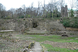 © Licensed to London News Pictures.  21/03/14.  Mirfield , UK. A community of monks has launched a £500,000 bid to restore a unique 19th century open-air theatre. The Quarry Theatre at the Community of the Resurrection, an Anglican religious retreat in Mirfield, W Yorks, was abandoned almost 40 years ago. Now general manager at the community, Guy Laurie (not pictured), has had planning permission approved to restore the theatre and re-open it to professional companies and the local community. The natural amphitheater in the community's 20-acre grounds was created when stone was quarried to build a house. The quarry was turned into a theatre and as many as 6,000 people packed in to see plays and performances. Mirfield-born Hollywood actor Sir Patrick Stewart had his first stage experience in the theatre and high-profile politicians also addressed large crowds there. Keir Hardie, founder of the Labour movement, spoke there as did suffragette leader Emmeline Pankhurst. In the 1970s the community closed the theatre and it became overgrown.. Photo Credit: Sam Atkins/LNP