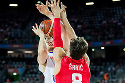 Rowland Schaftenaar of Netherlands vs Dario Saric of Croatia during basketball match between Netherlands and Croatia at Day 5 in Group C of FIBA Europe Eurobasket 2015, on September 9, 2015, in Arena Zagreb, Croatia. Photo by Vid Ponikvar / Sportida