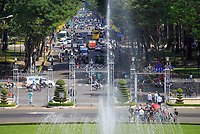 Looking down Le Duan Street from the balcony of the Independence Palace, Ho Chi Minh City, Vietnam