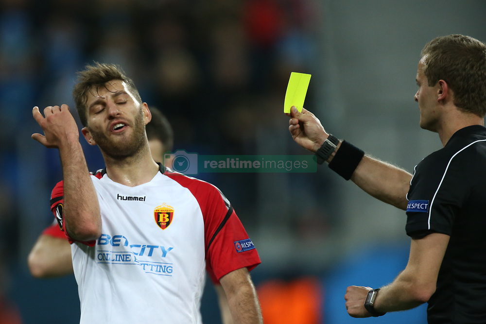 November 23, 2017 - Saint Petersburg, Russia - Referee shows the yellow cards to Vladica Brdarovski of FK Vardar during the UEFA Europa League Group L football match between FC Zenit Saint Petersburg and FK Vardar at Saint Petersburg Stadium on November 23, 2017 in St.Petersburg, Russia. (Credit Image: © Igor Russak/NurPhoto via ZUMA Press)