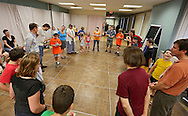 Parents, students, and teachers play a game during the last Just Right for ME! class at Theatre Cedar Rapids in Cedar Rapids on Saturday, July 14, 2012. (Stephen Mally/Freelance)