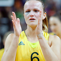 09 August 2012: Australia Jennifer Screen has been poked in the eye during 86-73 Team USA victory over Team Australia, during the women's basketball semi-finals, at the 02 Arena, in London, Great Britain.