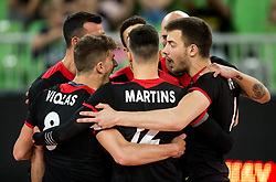 Players of Portugal celebrate during volleyball match between National teams of Slovenia and Portugal in 2nd Round of 2018 FIVB Volleyball Men's World Championship qualification, on May 26, 2017 in Arena Stozice, Ljubljana, Slovenia. Photo by Vid Ponikvar / Sportida