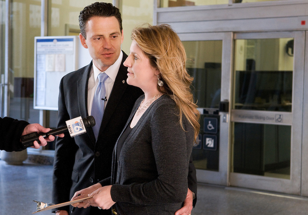State Assemblyman Nathan Fletcher and his wife Mindy hold a press conference outside of City Hall.