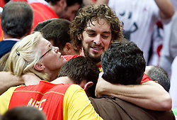 MVP Pau Gasol of Spain celebrates with his family when Team of Spain became the European Champion 2009 at the EuroBasket 2009 after they won at Final match between Spain and Serbia, on September 20, 2009, in Arena Spodek, Katowice, Poland.  Spain won, Serbia placed second, Greece third and Slovenia fourth.  (Photo by Vid Ponikvar / Sportida)