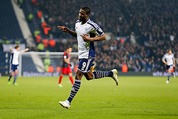 Brown Ideye of West Brom celebrates scoring a goal to make it 1-0 - Photo mandatory by-line: Rogan Thomson/JMP - 07966 386802 - 11/02/2015 - SPORT - FOOTBALL - West Bromwich, England - The Hawthorns - West Bromwich Albion v Swansea City - Barclays Premier League.