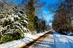 Snow glistens in the winter sunshine on a country road in South Lanarkshire<br /> <br /> (c) Andrew Wilson   Edinburgh Elite media