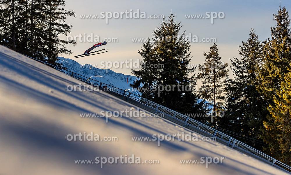 28.01.2017, Casino Arena, Seefeld, AUT, FIS Weltcup Nordische Kombination, Seefeld Triple, Skisprung, im Bild Maxime Laheurte (FRA) // Maxime Laheurte of France in action during his Trail Jump of Skijumping of the FIS Nordic Combined World Cup Seefeld Triple at the Casino Arena in Seefeld, Austria on 2017/01/28. EXPA Pictures © 2017, PhotoCredit: EXPA/ JFK