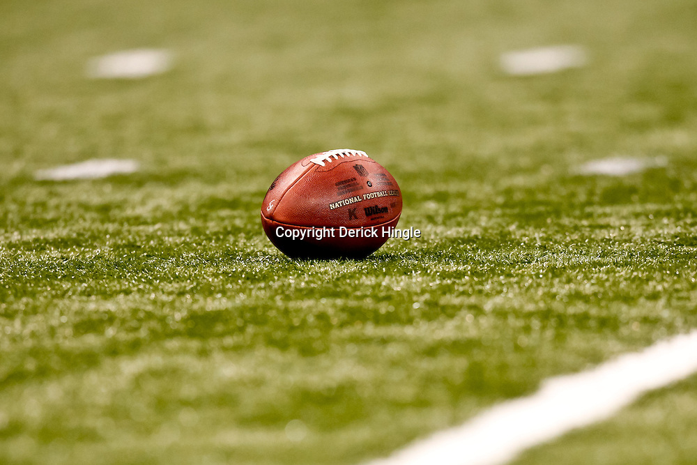 October 3, 2010; New Orleans, LA, USA; A football is seen on the field during a game between the New Orleans Saints and the Carolina Panthers at the Louisiana Superdome. The Saints defeated the Panthers 16-14. Mandatory Credit: Derick E. Hingle