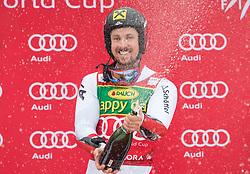 Winner Marcel Hirscher of Austria during flower ceremony after Men's GiantSlalom race of FIS Alpine Ski World Cup 57th Vitranc Cup 2018, on March 3, 2018 in Kranjska Gora, Slovenia. Photo by Urban Meglič / Sportida