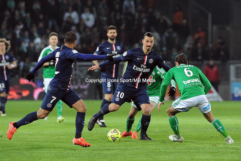 Zlatan IBRAHIMOVIC / Lucas Moura  - 25.01.2015 - Saint Etienne / PSG  - 22eme journee de Ligue1<br /> Photo : Jean Paul Thomas / Icon Sport