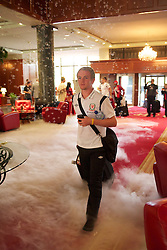 NOVI SAD, SERBIA - Monday, September 10, 2012: Wales' Jonathan Williams walks through dry ice and bubbles as the Hotel Park welcomes the players to Novi Sad ahead of the 2014 FIFA World Cup Brazil Qualifying Group A match against Serbia. (Pic by David Rawcliffe/Propaganda)