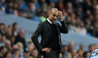 Football - 2016 / 2017 Champions League - Qualifying Play-Off, Second Leg: Manchester City [5] vs. Steaua Bucharest [0]<br /> <br /> Pep Guardiola of Manchester City scratches his head during the match, at the Ethihad Stadium.<br /> <br /> COLORSPORT/LYNNE CAMERON