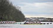 Putney- Mortlake, LONDON, GREAT BRITAIN,  both crews approach Chiswick Eyot. 2012 Boat Race, Oxford University vs Cambridge University. racing over the championship course. Putney/Mortlake, Saturday  07/04/2012  [Mandatory Credit, Peter Spurrier/Intersport-images]..Crews:.OUBC. Bow Dr. Alexander WOODS, 2. William ZENG, 3. Kevin BAUM, 4. Alex DAVIDSON,5. Karl HUDSPITH, 6. Dr. Hanno WIENHAUSEN, 7. Dan HARVEY, Stk. Roel HAEN, Cox. Zoe DE TOLEDO...CUBC. Bow. David NELSON, 2. Moritz SCHRAMM, 3. Jack LINDEMAN, 4. Alex ROSS , 5.Michael THORP, 6. Steve DUDEK, 7 Alexander SCHARP, Stk. Niles GARRETT . Cox. Ed BOSSON .