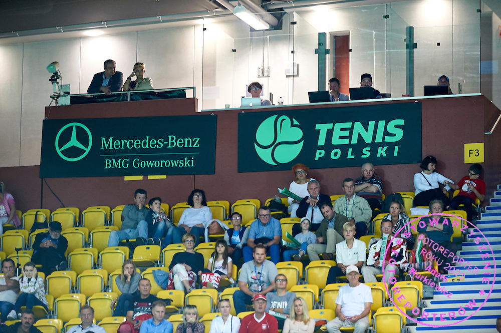 Mercedess Benz advertise and Tenis Polski advertise on main tribune during Davis Cup Tie World Group Play-off Poland v Slovakia at Gdynia Arena Hall in Gdynia, Poland.<br /> <br /> Poland, Gdynia, September 18, 2015<br /> <br /> Picture also available in RAW (NEF) or TIFF format on special request.<br /> <br /> For editorial use only. Any commercial or promotional use requires permission.<br /> <br /> Adam Nurkiewicz declares that he has no rights to the image of people at the photographs of his authorship.<br /> <br /> Mandatory credit:<br /> Photo by &copy; Adam Nurkiewicz / Mediasport