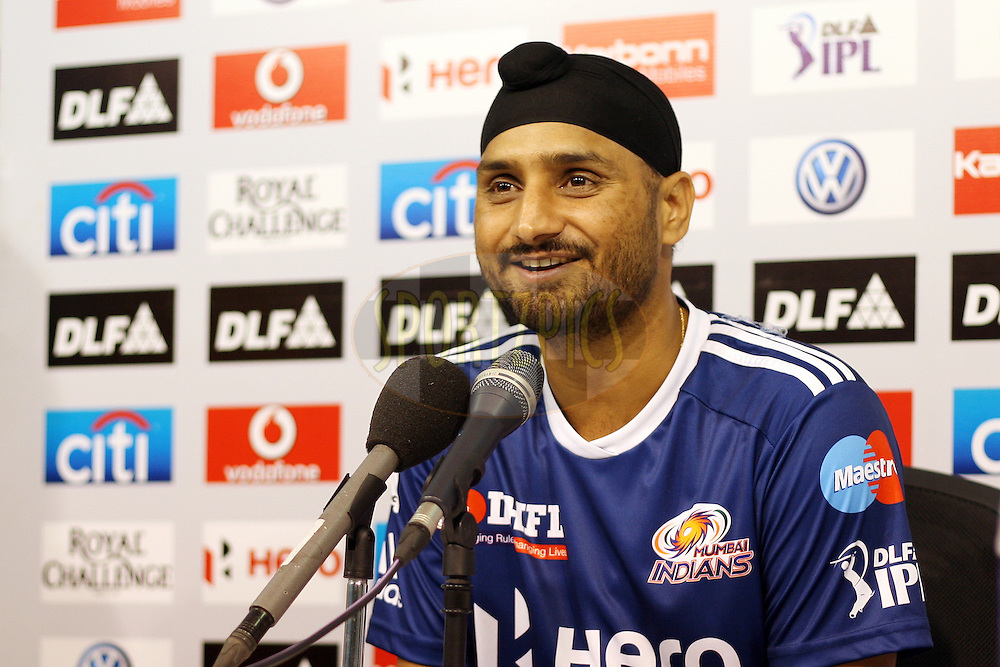Harbhajan Singh during the press conference after match 1 of the the Indian Premier League ( IPL) 2012  between The Chennai Superkings and The Mumbai Indians held at the M. A. Chidambaram Stadium in Chennai on the 4th April 2012..Photo by Jacques Rossouw/IPL/SPORTZPICS