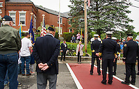VFW Post 33 past commander Bob Kennelly welcomed NH State Senator Jeanie Forrester to speak during the Memorial Day service held in front of the Meredith Public Library on Monday morning.  (Karen Bobotas/for the Laconia Daily Sun)