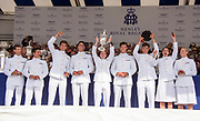 Henley on Thames, England, United Kingdom, 7th July 2019, Henley Royal Regatta, King's Cup winners, United States Armed Forces, U.S.A., beat, Bundeswehr, Germany.,  Prize Giving ceremony,  Henley Reach, [© Peter SPURRIER/Intersport Image]<br /> <br /> 17:28:49 1919 - 2019, Royal Henley Peace Regatta Centenary,