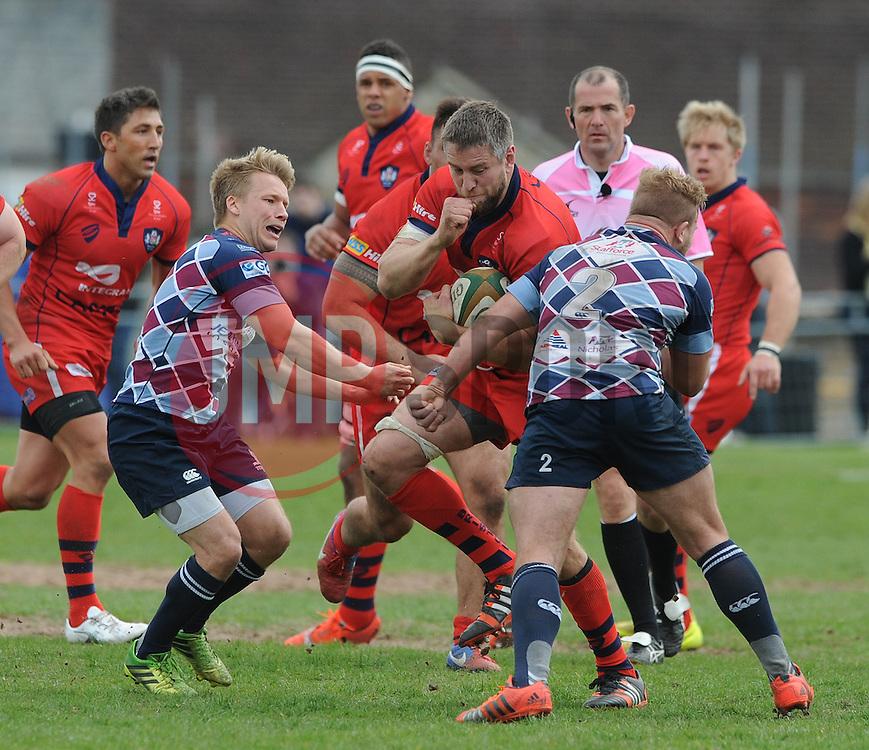 Bristol Rugby Number 8 Ryan Jones clashes into Rotherham Titans Hooker Tom Cruse (capt) - Photo mandatory by-line: Dougie Allward/JMP - Mobile: 07966 386802 - 10/05/2015 - SPORT - Rugby - Sheffield - Abbeydale Dale Sports - Rotherham Titans v Bristol Rugby - Greene King IPA Championship
