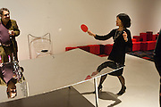 CURATOR; LYDIA YEE PLAYING PING PONG, Ron Arad; Restless. Cocktail reception hosted by Kate Bush of the Barbican and Tony Chambers of Wallpaper magazine. Barbican art Gallery. London. 17 September 2010