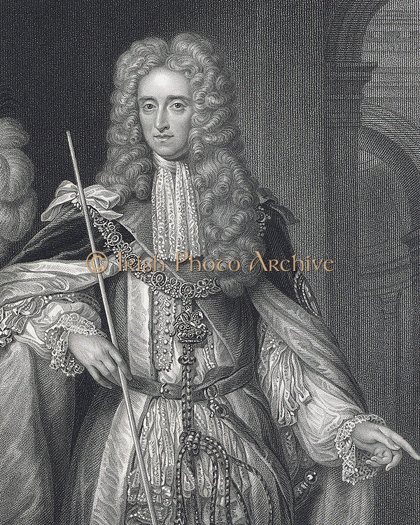 Thomas Osborne, first Duke of Leeds (1632-1712) English statesman, created Earl  Danby in 1674 and Duke of Leeds in 1694.  Engraving after portrait by Van der Vaart.