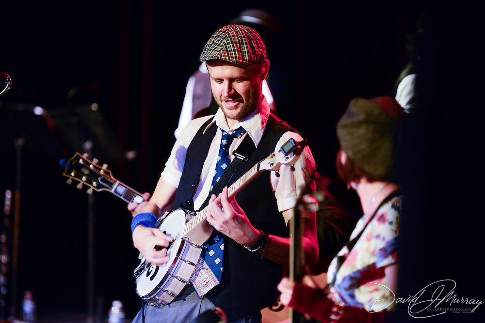 "Banjo player ""Babyface Mahoney"" performs with Vaud and the Villains at The Music Hall in Portsmouth, NH. July 2012."