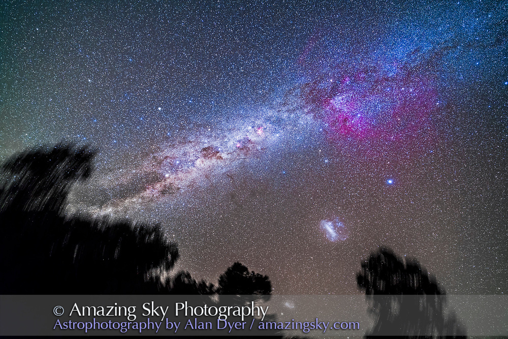 The Milky Way in the southern hemisphere sky from Vela at top right to Centaurus at bottom left. <br /> <br /> At left of centre is the huge Gum Nebula emission nebula bubble. At centre is the Carina Nebula. At bottom are the Small and Large Magellanic Clouds Crux is left of centre. Alpha and Beta Centauri are left of Crux. <br /> <br /> This is a stack of 5 x 3-minute tracked exposures with the filter-modified Canon 5D MkII camera at ISO 2000 and 14mm Rokinon lens at f/2.5. On the iOptron Sky-Tracker, from Tibuc Gardens Cottage, Coonabarabran, NSW, Australia.